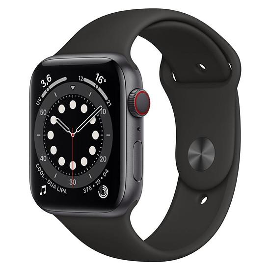 Montre connectée Apple Watch Series 6 Aluminium (Gris sidéral - Bracelet Sport Noir) - Cellular - 44 mm