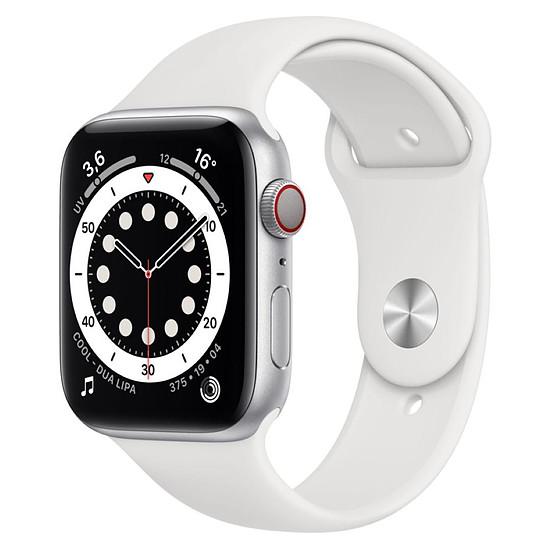Montre connectée Apple Watch Series 6 Aluminium (Argent- Bracelet Sport Blanc) - Cellular - 44 mm