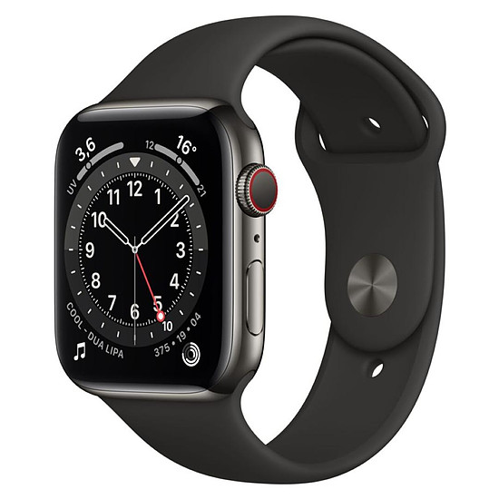 Montre connectée Apple Watch Series 6 Acier inoxydable (Graphite - Bracelet Sport Noir) - Cellular - 44 mm