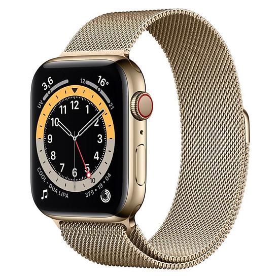 Montre connectée Apple Watch Series 6 Acier inoxydable (Or - Bracelet Milanais Or) - Cellular - 44 mm