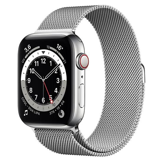 Montre connectée Apple Watch Series 6 Acier inoxydable (Argent - Bracelet Milanais Argent) - Cellular - 44 mm