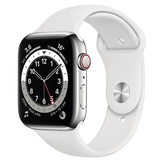 Montre connectée Apple Watch Series 6 Acier inoxydable (Argent- Bracelet Sport Blanc) - Cellular - 44 mm
