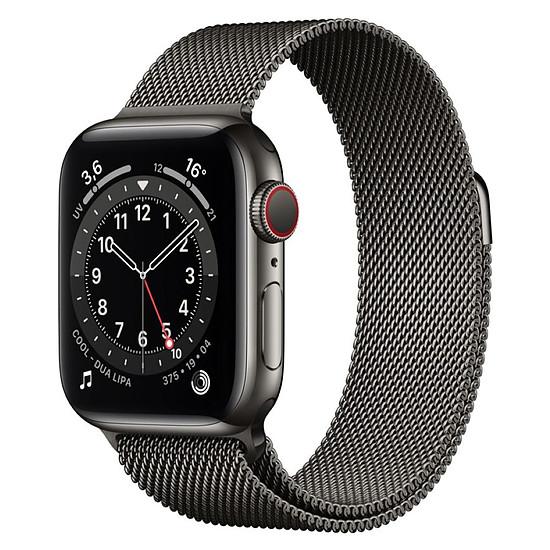 Montre connectée Apple Watch Series 6 Acier inoxydable (Graphite - Bracelet Milanais Graphite) - Cellular - 40 mm