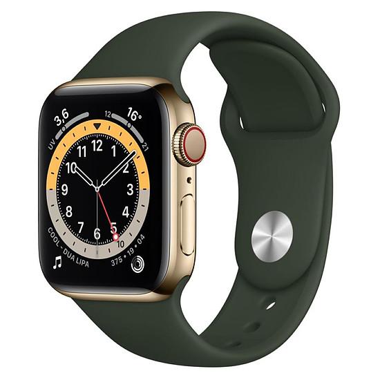 Montre connectée Apple Watch Series 6 Acier inoxydable (Or - Bracelet Sport Vert) - Cellular - 40 mm