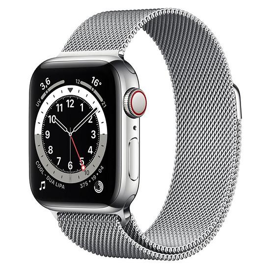 Montre connectée Apple Watch Series 6 Acier inoxydable (Argent - Bracelet Milanais Argent) - Cellular - 40 mm