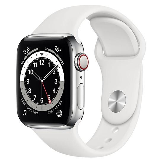 Montre connectée Apple Watch Series 6 Acier inoxydable (Argent - Bracelet Sport Blanc) - Cellular - 40 mm