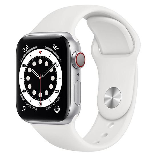 Montre connectée Apple Watch Series 6 Aluminium (Argent - Bracelet Sport Blanc) - Cellular - 44 mm