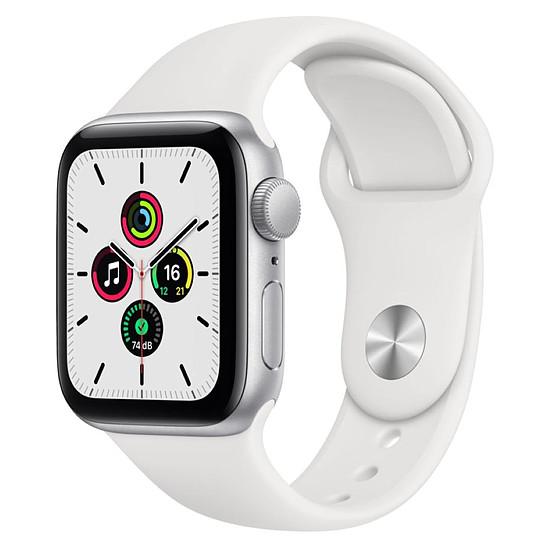 Montre connectée Apple Watch SE Aluminium (Argent - Bracelet Sport Blanc) - GPS - 40 mm