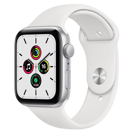 Montre connectée Apple Watch SE Aluminium (Argent - Bracelet Sport Blanc) - GPS - 44 mm