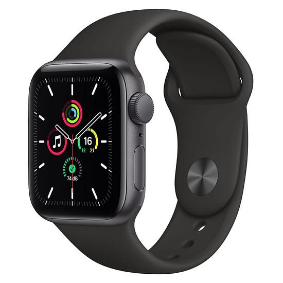 Montre connectée Apple Watch SE Aluminium (Gris sidéral - Bracelet Sport Noir) - GPS - 40 mm