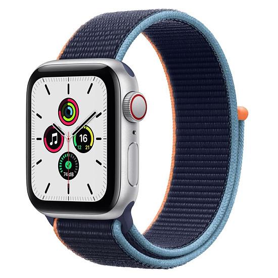 Montre connectée Apple Watch SE Aluminium (Argent - Bracelet Sport Marine intense) - Cellular - 40 mm