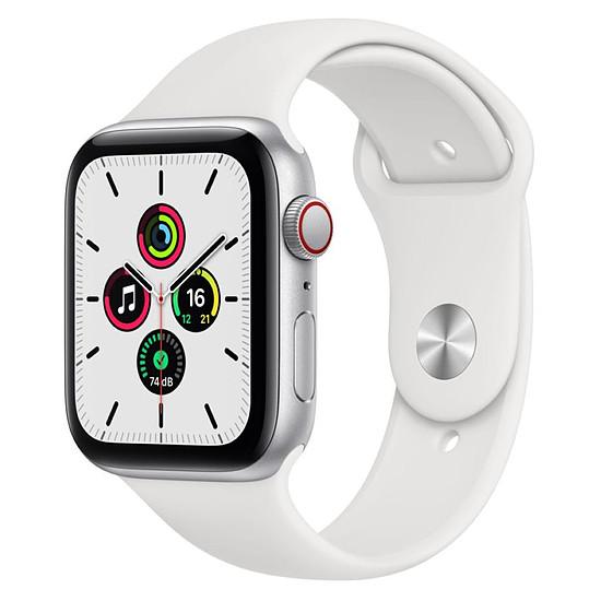 Montre connectée Apple Watch SE Aluminium (Argent - Bracelet Sport Blanc) - Cellular - 44 mm