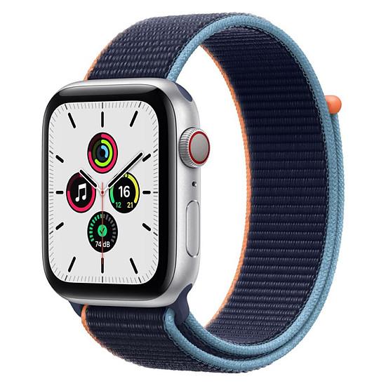 Montre connectée Apple Watch SE Aluminium (Argent - Bracelet Sport Marine intense) - Cellular - 44 mm