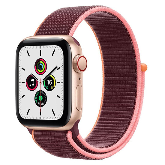 Montre connectée Apple Watch SE Aluminium (Or - Bracelet Sport Prune) - Cellular - 40 mm