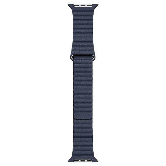 Accessoires montre et bracelet Apple Bracelet en cuir bleu profond de 44 mm - Medium