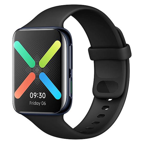 Montre connectée Oppo Watch Aluminium (Noir - Bracelet Fluoroélastomère Noir) - Wi-Fi - 46 mm