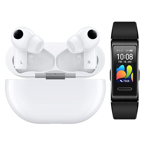 Casque Audio Huawei FreeBuds Pro Blanc + Band 4 Pro Noir