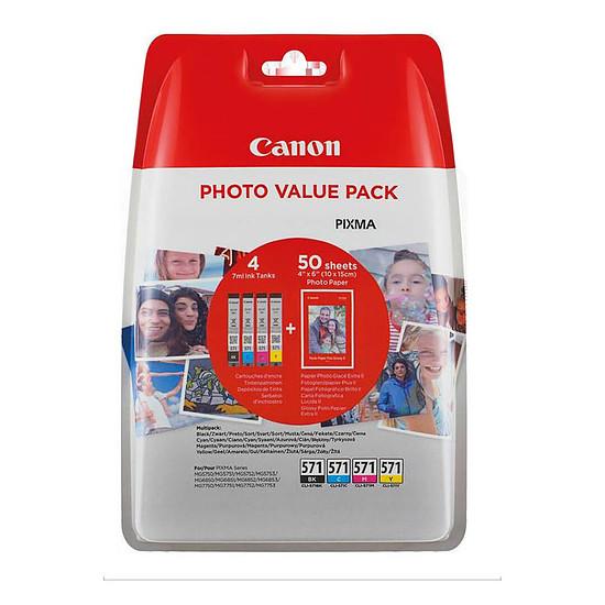 Cartouche d'encre Canon CLI-571 BK, C, M, Y, Photo Value Pack