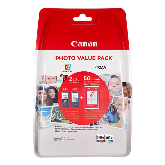 Cartouche d'encre Canon PG-560XL/CL-561XL Photo Value Pack