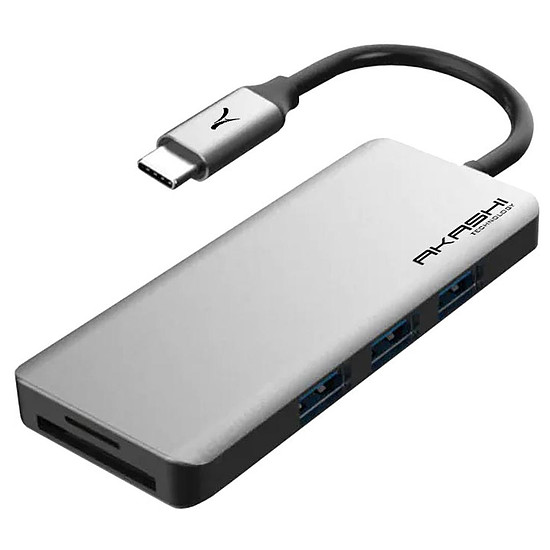 Adaptateurs et câbles Akashi Hub USB Type-C 7-en-1