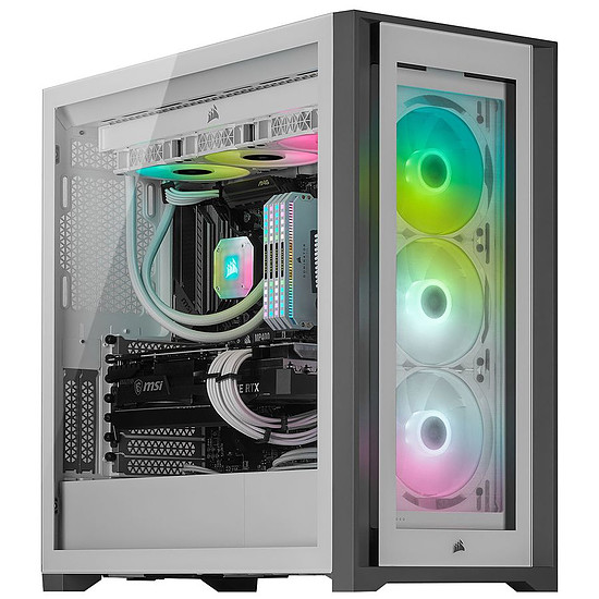 Boîtier PC Corsair iCUE 5000X RGB Tempered Glass - Blanc