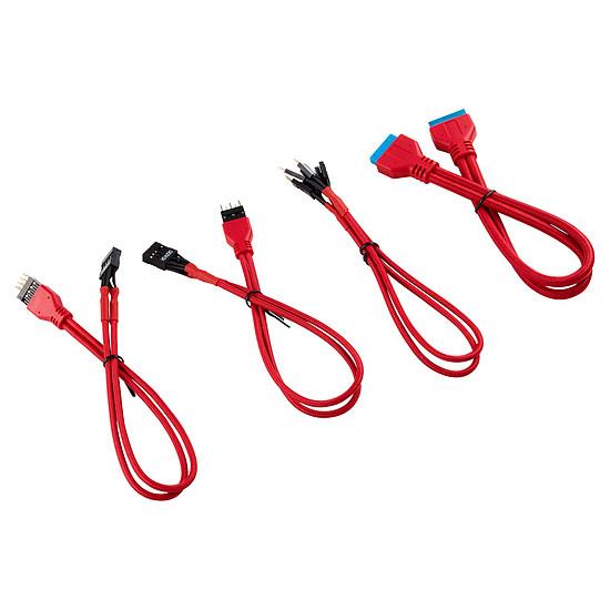 Câble d'alimentation Corsair - Kit d'extension gainé pour panneau avant (30 cm) - Rouge