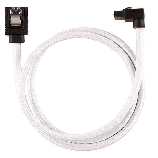 Serial ATA Corsair Câble SATA gainé Premium connecteur coudé (blanc) - 60 cm