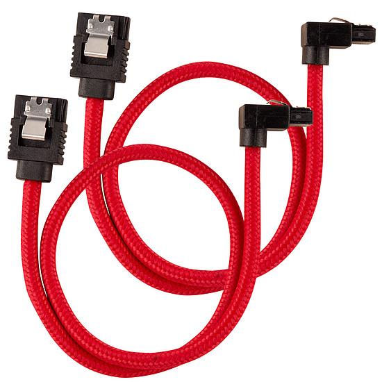 Câble Serial ATA Corsair Câble SATA gainé Premium connecteur coudé (rouge) - 30 cm