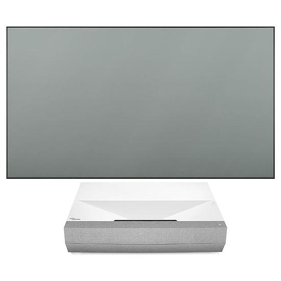 "Vidéoprojecteur Optoma CinemaX P2 (Blanc) - Laser 4K UHD - 3000 Lumens + Benq Cadre 16/9 ALRS01 100"" (254 cm)"