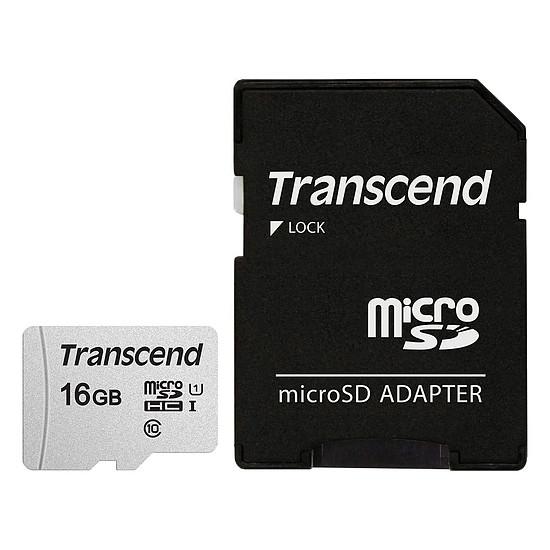 Carte mémoire Transcend MicroSDHC 300S 16 Go + Adaptateur SD