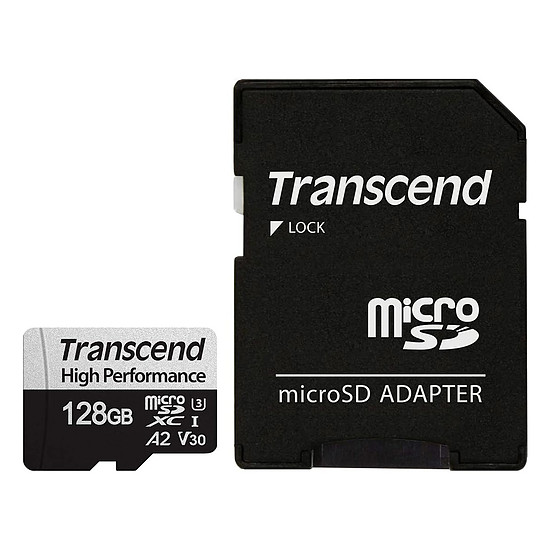 Carte mémoire Transcend MicroSDXC 330S 128 Go + Adaptateur SD
