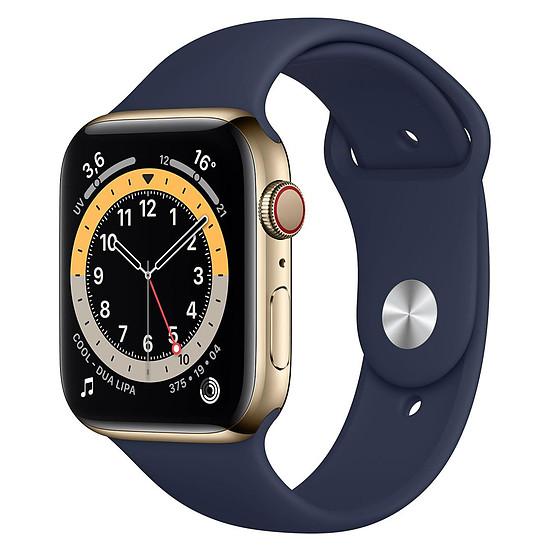 Montre connectée Apple Watch Series 6 Acier inoxydable (Or - Bracelet Sport Bleu) - Cellular - 44 mm