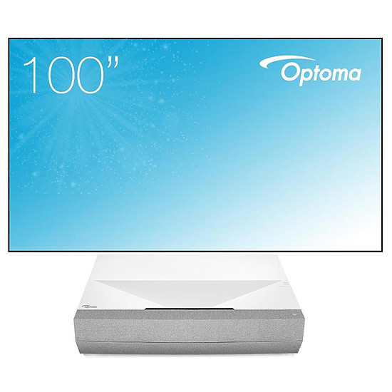 Vidéoprojecteur Optoma CinemaX P2 (Blanc) - Laser 4K UHD - 3000 Lumens + cadre Optoma ALR101 254 cm